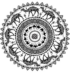 round pattern with decorated camels vector image vector image