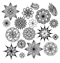 set of black and white doodle flowers element for vector image vector image
