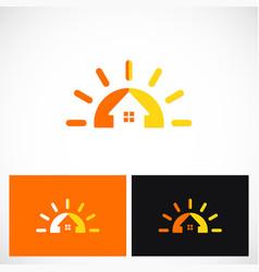 summer house sun solar logo vector image vector image