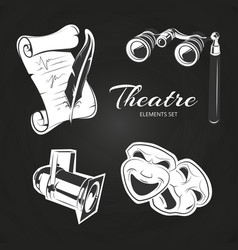 theatre symbols set on chalkboard vector image vector image