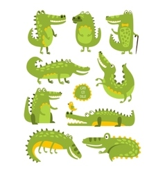 Crocodile Cute Character In Different Poses vector image vector image