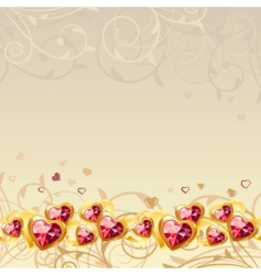 frame with gold hearts vector image