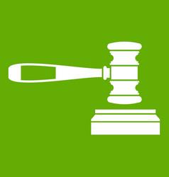 judge gavel icon green vector image