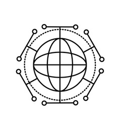 Line global digital technology data connection vector
