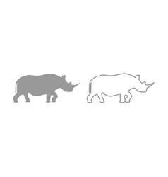 rhinoceros icon grey set vector image