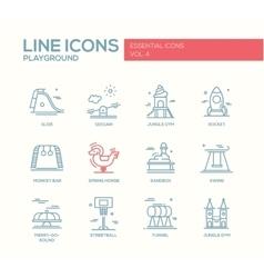 Children playground line design icons set vector image vector image