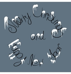 christmas text under the snow vector image