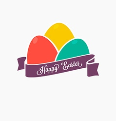 Happy Easter Set of colorful eggs with ribbon for vector image