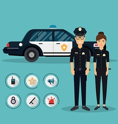 Officer characters with police car vehicle in flat vector image