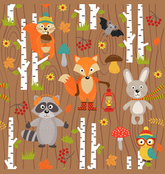 seamless pattern with animals of forest vector image vector image