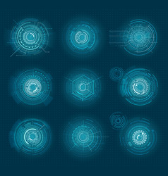 set of blue infographic elements interface virtual vector image vector image