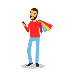 Young bearded man in red pullover standing with vector