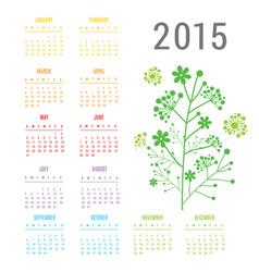 calendar 2015 flower vector image vector image