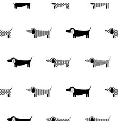 german badger-dog silhouette seamless vector image