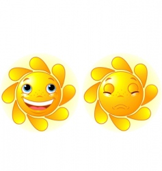 happy sun and sad sun vector image vector image