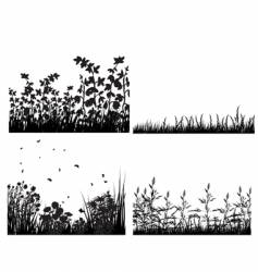meadow silhouettes set vector image