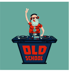 old school retro party senior adult dj with vinyl vector image vector image