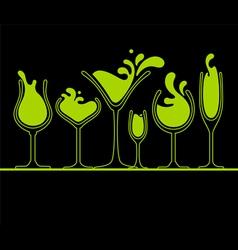 set of splash wine glass vector image vector image