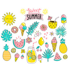 set of sweet summer hand drawn elements vector image vector image