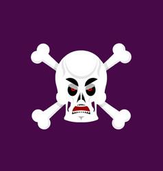 skull and crossbones angry emoji skeleton head vector image vector image