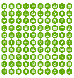 100 work paper icons hexagon green vector