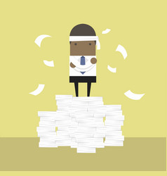 African businessman standing on paperwork vector