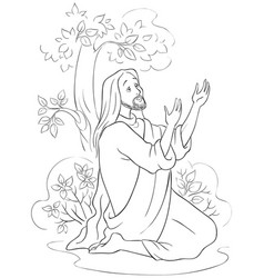 Agony in the garden coloring page vector