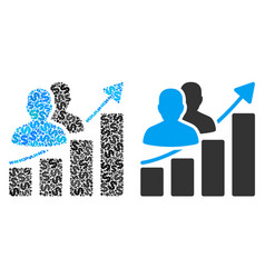 Audience growth bar chart composition of dollars vector