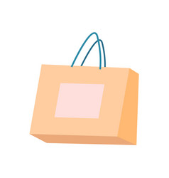 bag of beige color with handles shopping packet vector image