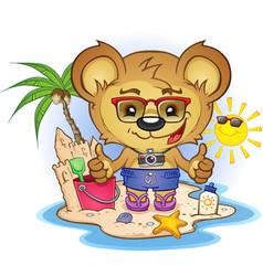 beach teddy bear cartoon character vector image