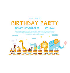 Birthday invitation card with cute funny animals vector