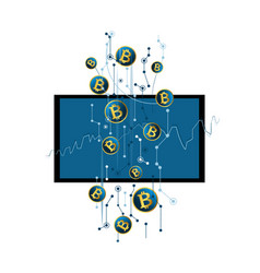 bitcoin wallet cryptocurrency on virtual screen vector image