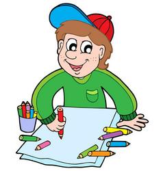 boy with crayons vector image