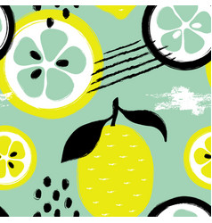 brush grunge lemon seamless pattern vector image