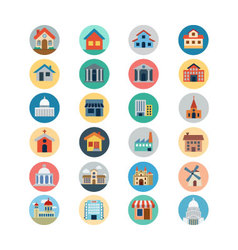 Buildings Flat Colored Icons 1 vector image