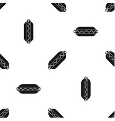 bun and sausage pattern seamless black vector image