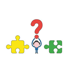 businessman character holding up question mark vector image