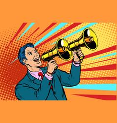 Businessman with a megaphone announcement vector