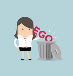 Businesswoman throw his ego into the trash vector