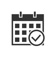 calendar check mark black icon on white background vector image