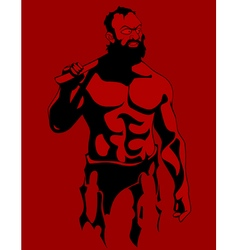 cartoon drawing of a muscular serious bearded man vector image