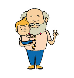 Cartoon grandpa and his grandson family cheerfu vector
