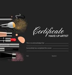 certificate makeup school vector image