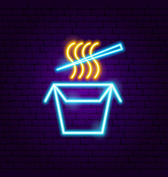 chinese food neon sign vector image
