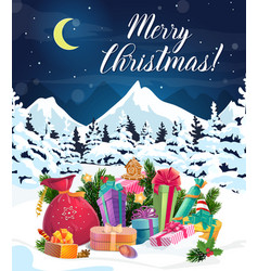 christmas gifts bag and new year presents on snow vector image