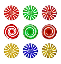 christmas striped candy set spiral sweet mint vector image