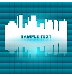 City silhouette reflected gradient blue green vector