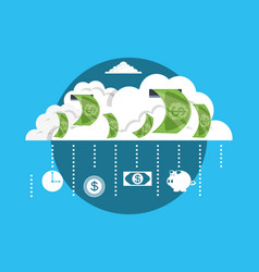 cloud with bill dollar money vector image