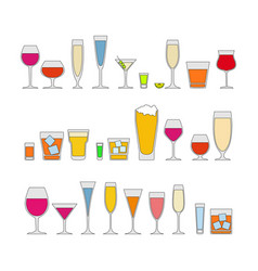 cocktails drinks glasses icons set alcohol vector image