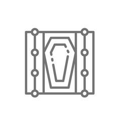 Coffin in grave line icon vector